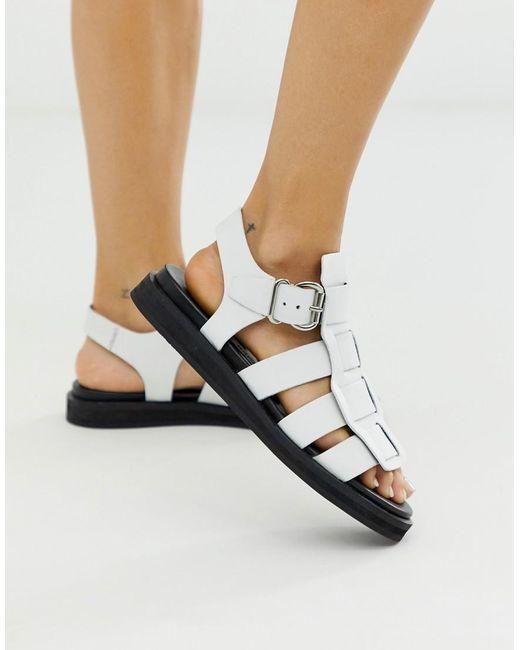 976c3ccb9e9 Women's Bala White Leather Chunky Gladiator Sandal