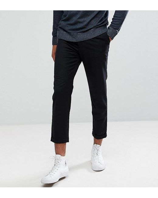 Bellfield Tall Cropped Pants With Pleated Front In Black For Men Lyst
