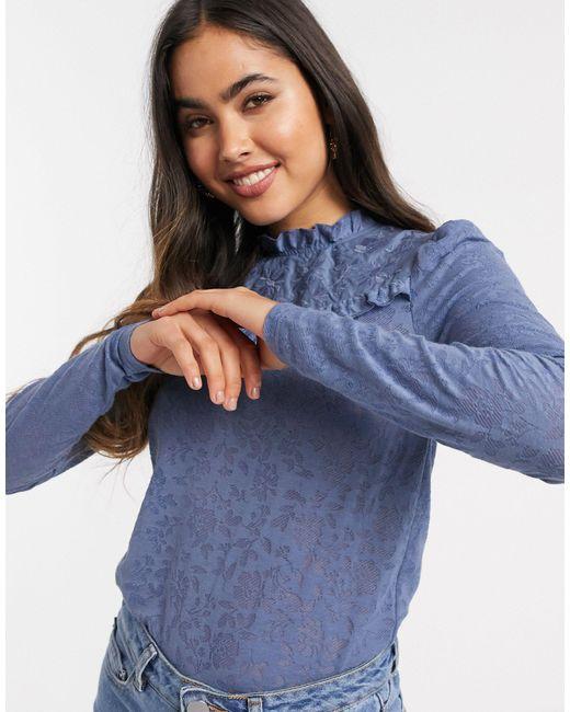 River Island Blue – es T-Shirt mit langen Puffärmeln