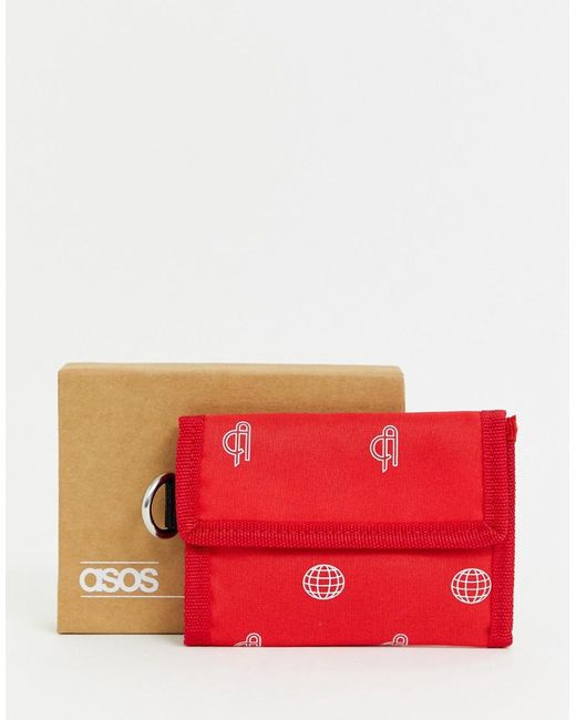 ASOS Red Tri-fold Wallet With Print for men