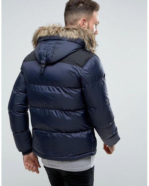 Schott Nyc Puffer Jacket Detachable Hood Faux Fur Trim