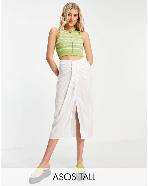 Falda midi blanca con detalle drapeado ASOS de color White
