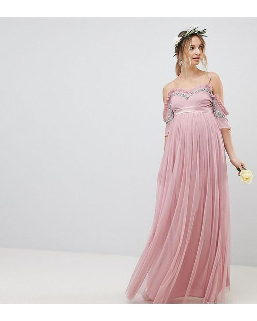 c6d25d88d005 Maya Maternity - Pink Cold Shoulder Sequin Detail Tulle Maxi Dress With Ruffle  Detail - Lyst ...
