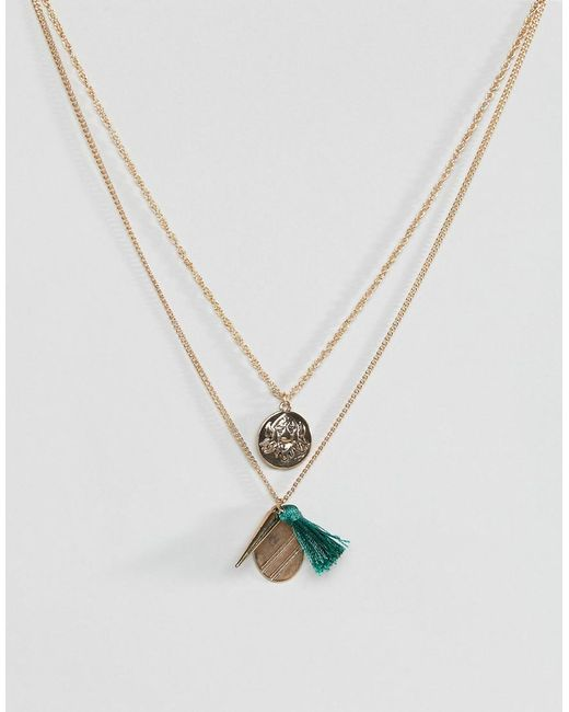 ASOS - Metallic Coin Charm And Tassel Pendants Necklace - Lyst