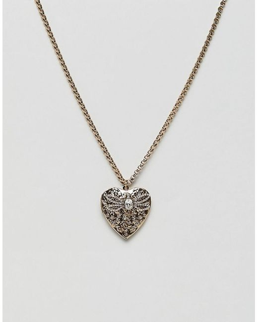 ASOS Metallic Necklace With Vintage Style Heart Locket And Bug Design In Gold