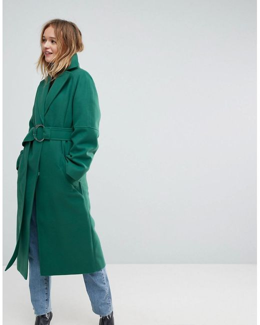 ASOS - Green D Ring Belted Long Coat - Lyst