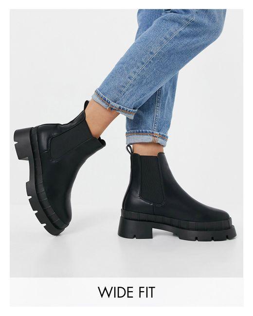 Черные Ботинки Челси На Массивной Подошве Для Широкой Стопы Turner-черный Цвет Raid Wide Fit, цвет: Black
