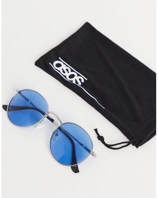 ASOS Metallic Round Sunglasses for men
