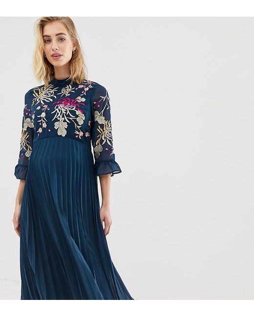 18ce25e211b ASOS - Blue Asos Design Maternity Embroidered Pleated Midi Dress With  Fluted Sleeve - Lyst ...