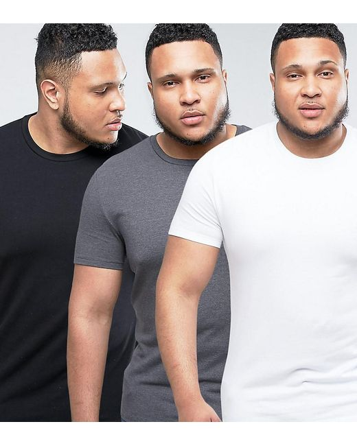 ASOS | Gray Plus Muscle Fit T-shirt 3 Pack Save for Men | Lyst