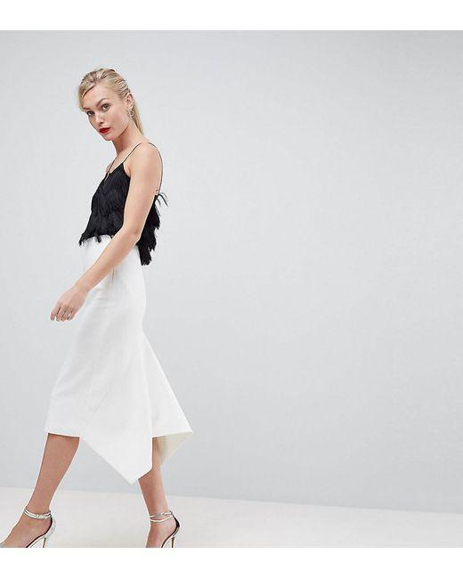 ASOS White Asos Design Tall Tailored Occasion Fishtail Midi Skirt