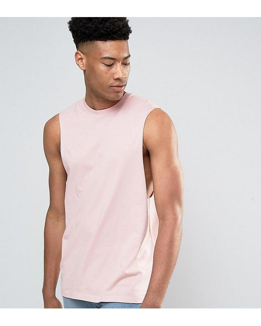Asos tall sleeveless t shirt with dropped armhole in pink for Tall sleeveless t shirts