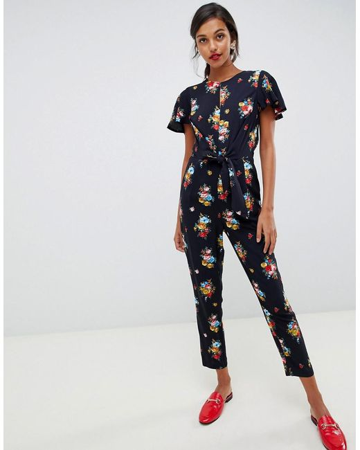 a95d2f7051b Oasis - Blue Jumpsuit With Ruffle Cap Sleeves In Floral Print - Lyst ...