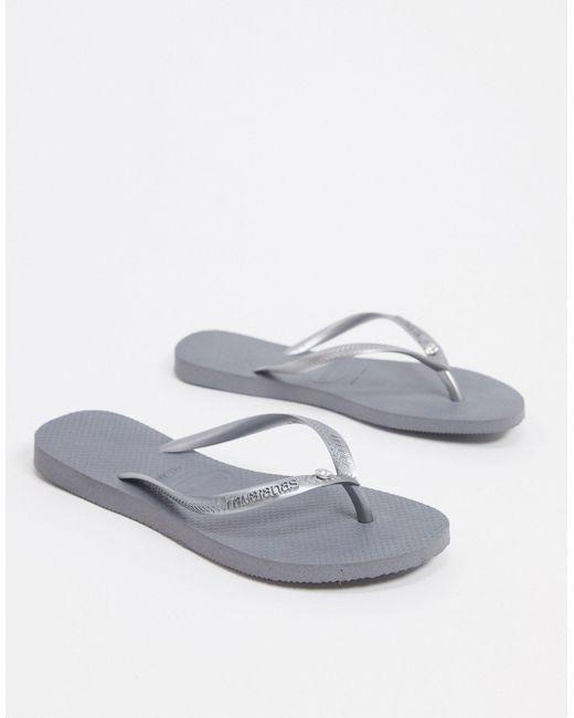 Havaianas Gray Slim Crystal Flip Flops