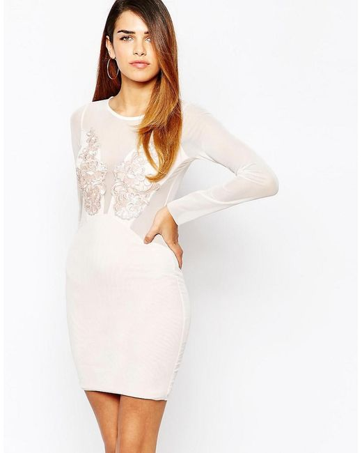 TFNC London | Natural Applique Front Bodycon Dress With Mesh Sleeves | Lyst