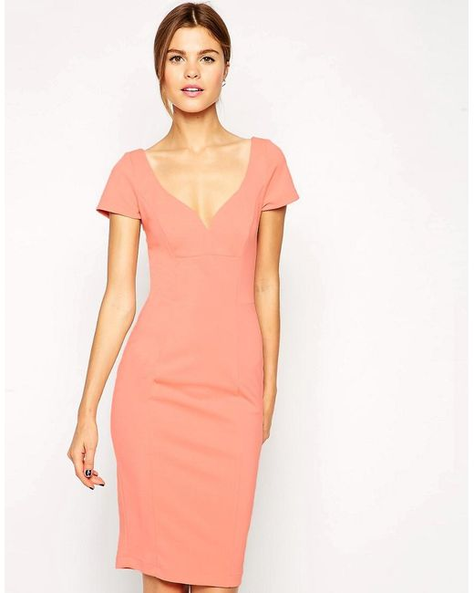 ASOS | Pink Wiggle Dress In Scuba With Low V | Lyst