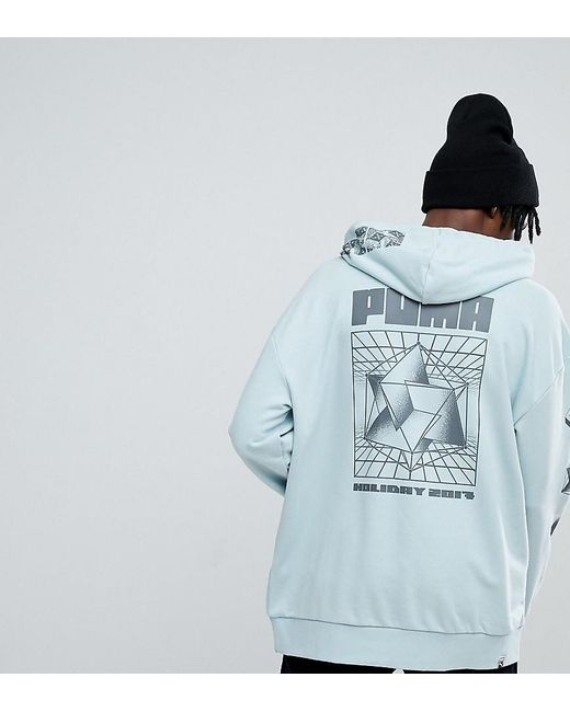 8560070ec8e534 PUMA - Hoodie With Back Print In Green Exclusive At Asos for Men - Lyst ...