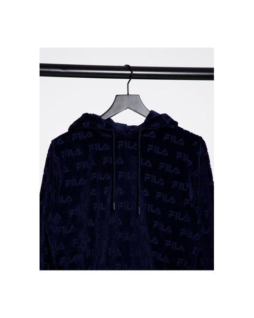 Худи Из Велюра Темно-синего Цвета С Принтом По Всей Поверхности -темно-синий Fila, цвет: Blue
