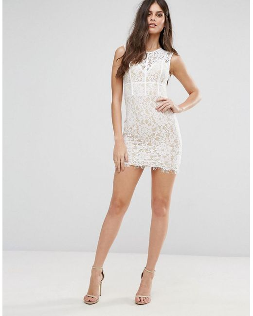 Visa Payment Sale Online Mini Dress with Eyelash Lace Hem and Piping - White NaaNaa Sale Find Great Low Price Fee Shipping Q5cyo5