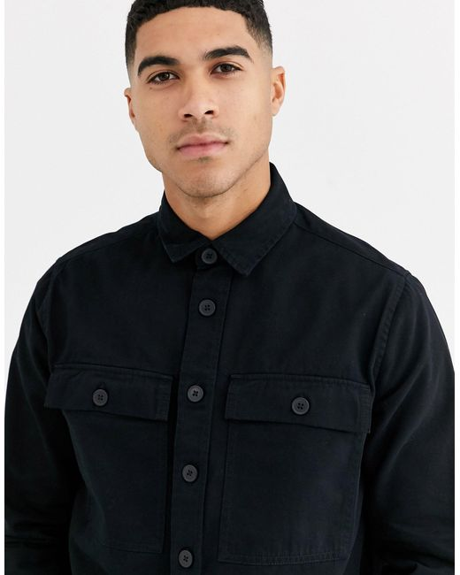 New Look – Hemdjacke in Black für Herren