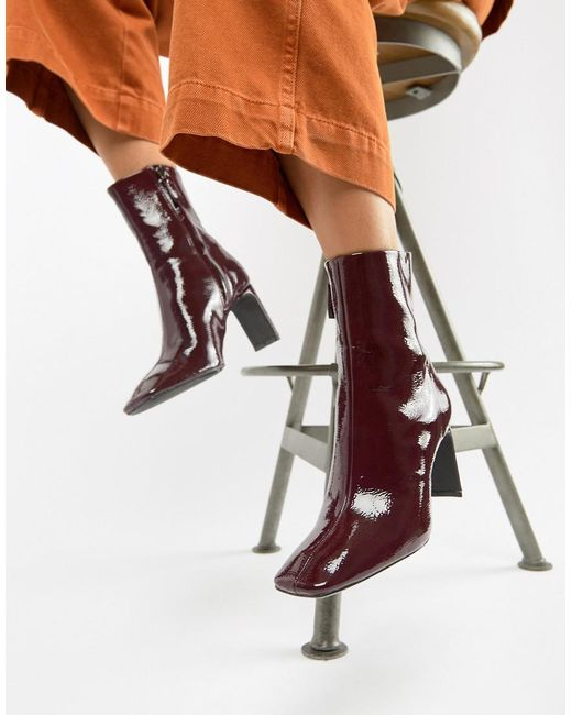 Bershka - Red Patent Ankle Boot - Lyst