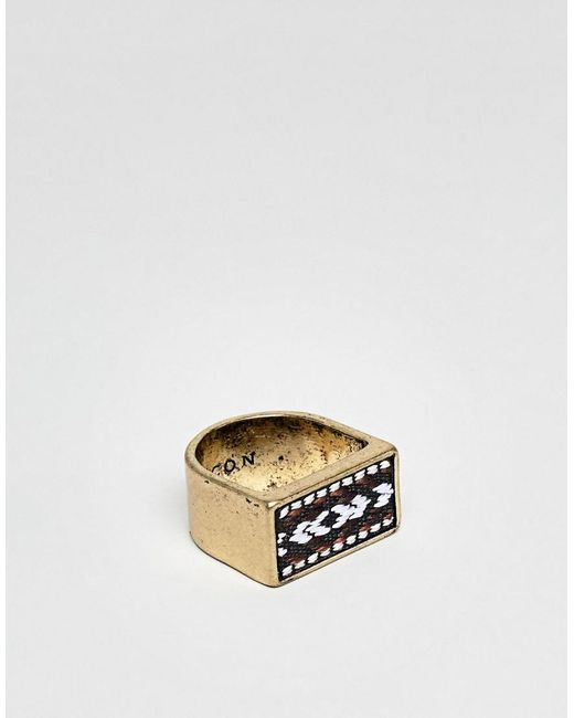 Icon Brand - Metallic Burnished Gold Square Signet Ring With Pattered Fabric Detail for Men - Lyst