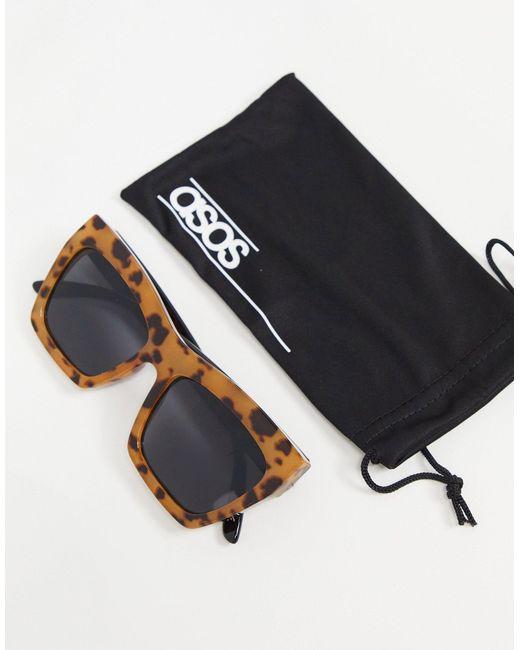 Солнцезащитные Очки В Массивной Оправе «кошачий Глаз» Молочной Черепаховой Расцветки ASOS, цвет: Brown