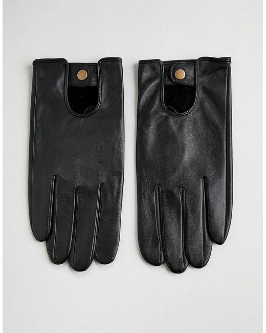 Gants de conduite en cuir - Noir ASOS pour homme en coloris Black