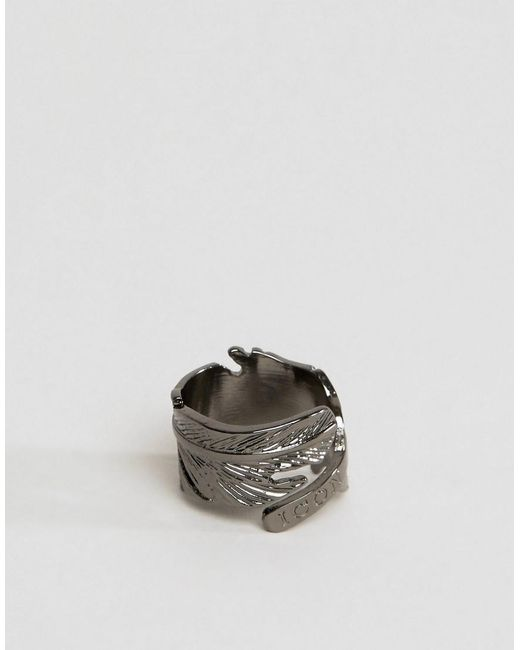 Icon Brand   Metallic Feather Ring In Gunmetal for Men   Lyst