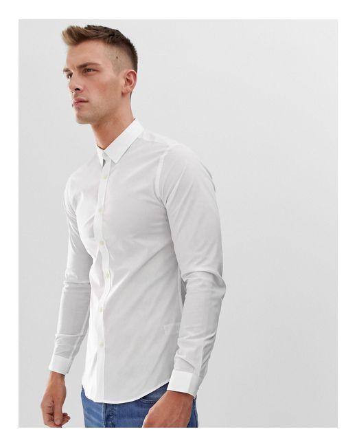 Приталенная Рубашка Из Эластичного Поплина -белый French Connection для него, цвет: White