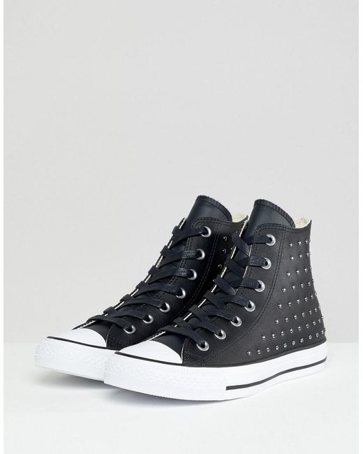 521fa85954e3 Converse - Chuck Taylor All Star Leather Studded Hi Sneakers In Black -  Lyst ...