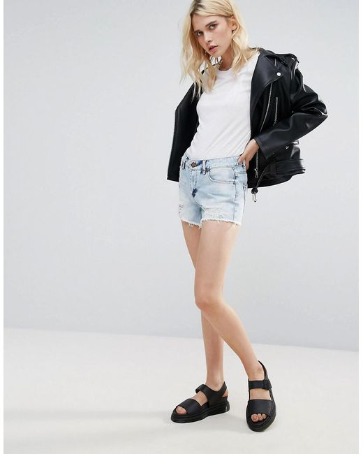 Pieces   Blue Thilde Denim Ripped Shorts   Lyst