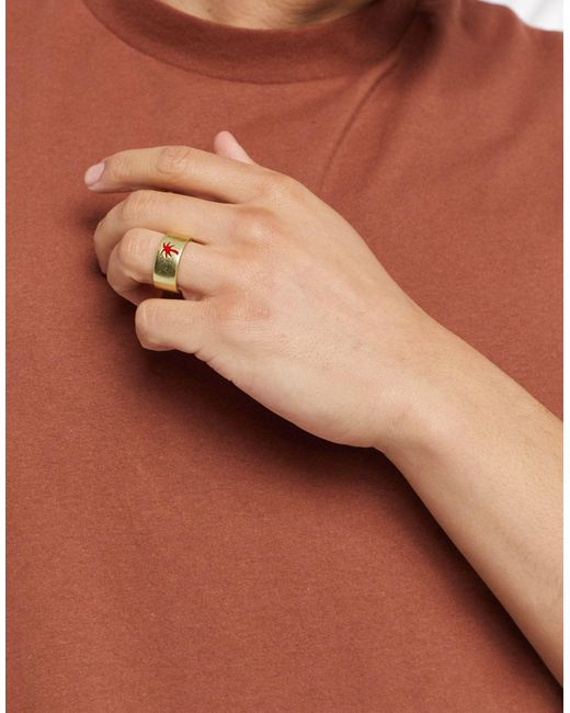 Золотистое Кольцо С Гравировкой Пальмы -золотой Classics 77 для него, цвет: Metallic