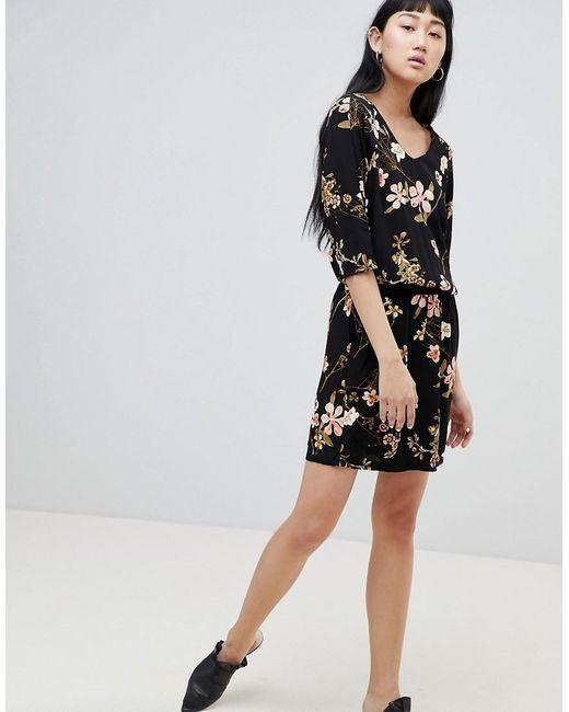 Floral Cowl Neck Dress - Black b.young VTrsHjU