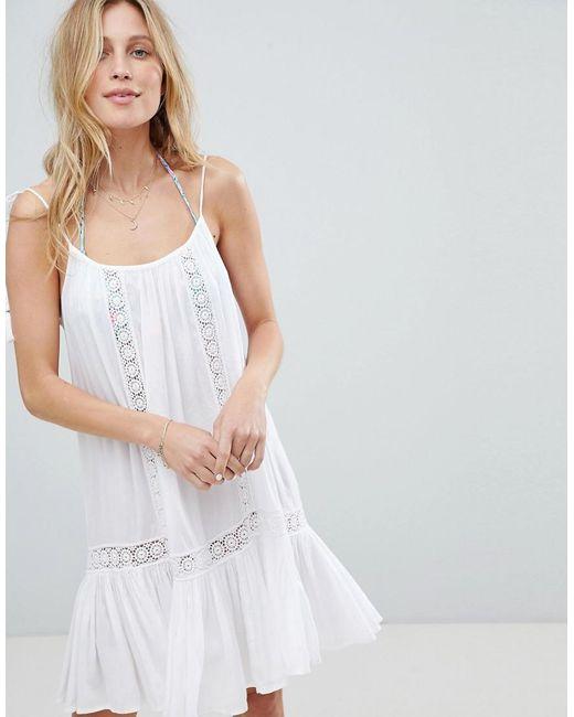 0ebe2c87a6 Accessorize - White Lace Insert Strappy Beach Dress - Lyst ...