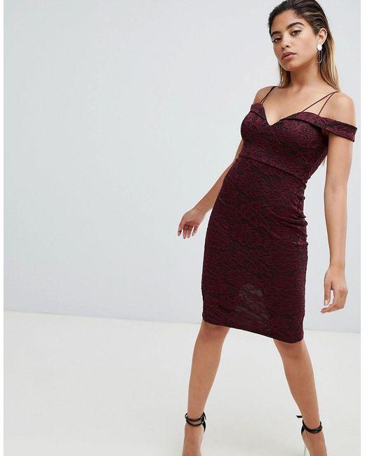 Off Shoulder Pencil Dress - Plum AX PARIS iqhL2u