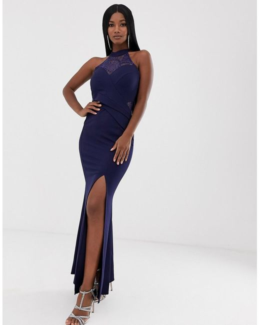 temperament shoes excellent quality good selling Lipsy Synthetic Halterneck Fishtail Maxi Dress With Sequin Detail ...