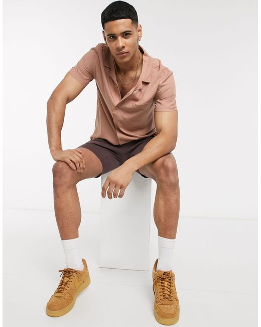 Светло-бежевая Рубашка С Короткими Рукавами И Отложным Воротником -светло-бежевый Topman для него, цвет: Brown