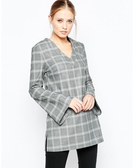 ASOS | Gray V Neck Long Sleeve Tunic Top In Check - Multi | Lyst