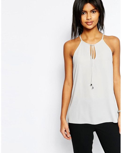 ASOS | Gray High Neck Cami With Keyhole & Tie Front | Lyst
