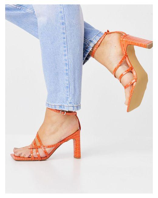 Оранжевые Босоножки На Блочном Каблуке С Принтом Под Крокодила Charms-оранжевый Цвет Public Desire, цвет: Orange