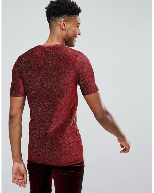Asos Tall Longline Muscle T-shirt In Red Metallic Fabric ...