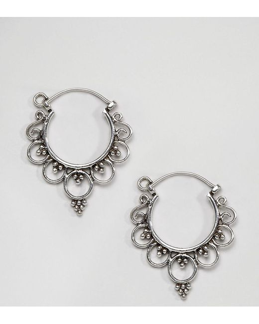Kingsley Ryan - Metallic Sterling Silver Mini Ornate Hoop Earrings - Lyst