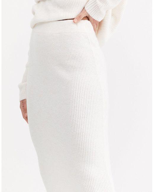 Юбка Миди Из Переработанных Материалов В Крупный Рубчик ASOS, цвет: White