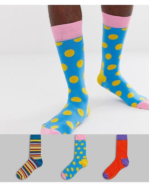 Lot de 3 paires de chaussettes Happy Socks pour homme en coloris Blue