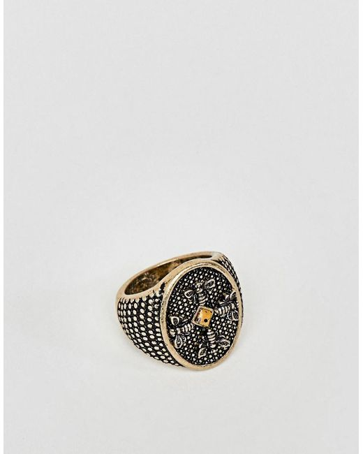 ASOS - Metallic Chunky Embossed Signet Ring With Stone In Burnished Gold for Men - Lyst