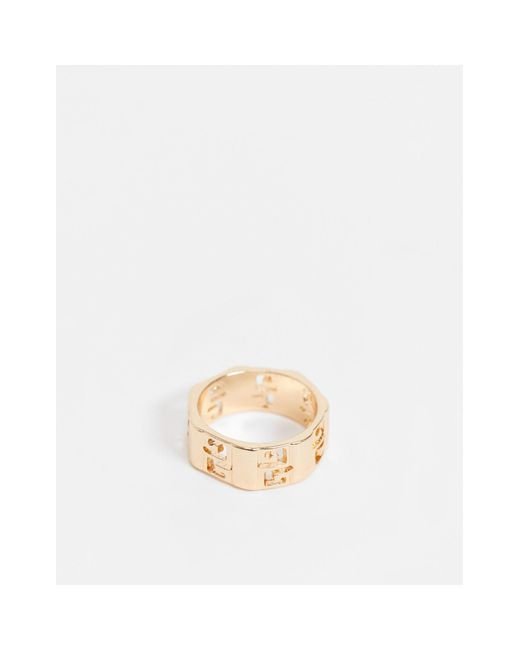ASOS Metallic Band Ring With Greek Wave for men