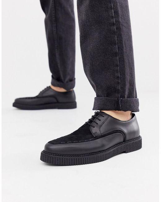 Черные Кожаные Туфли Со Шнуровкой И Крепированной Подошвой ASOS для него, цвет: Black