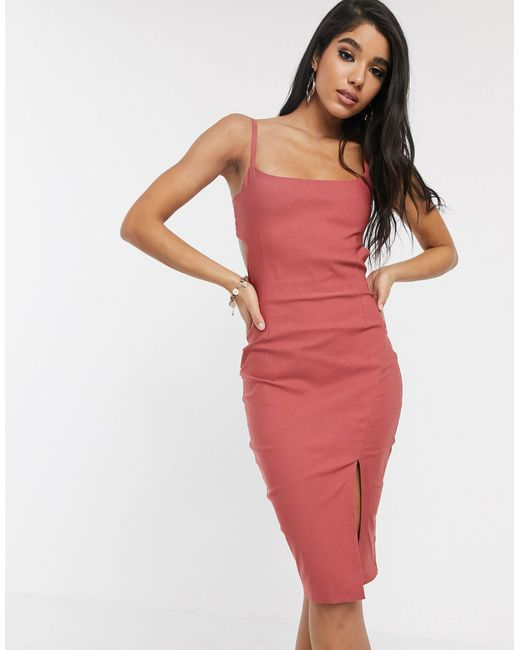 Vestito midi con spalline e cut-out rosa vintage di Vesper in Multicolor