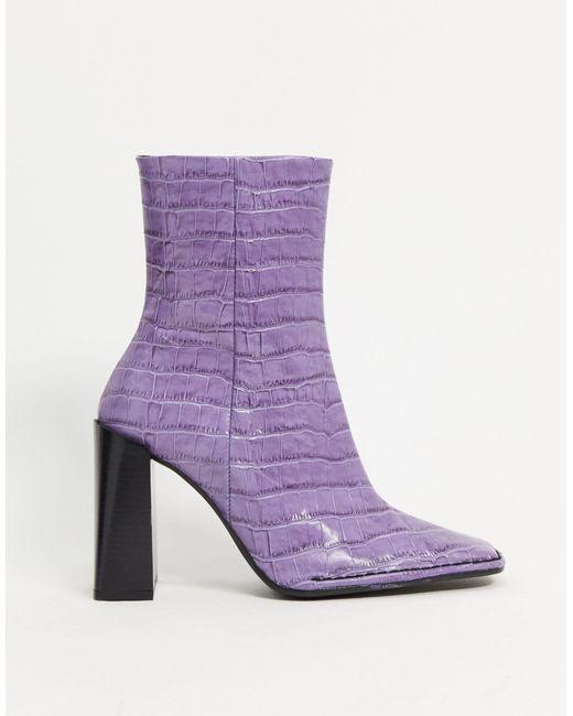Фиолетовые Кожаные Ботильоны На Каблуке С Отделкой Под Кожу Крокодила ASOS, цвет: Purple